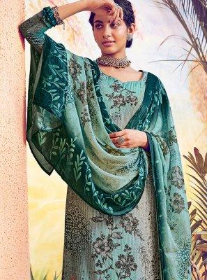 Muslin Green Digital Print Designer Straight Salwar Suit
