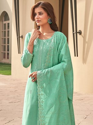 Muslin Green Embroidered Pant Style Suit