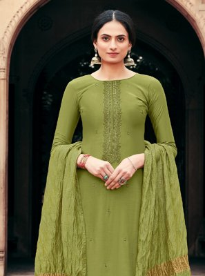 Muslin Palazzo Designer Salwar Kameez in Green