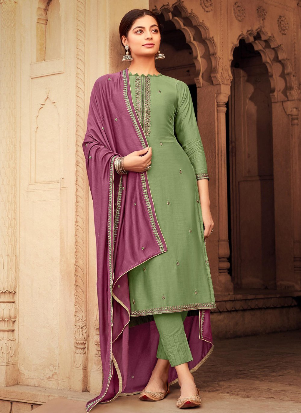 Muslin Pant Style Suit in Green