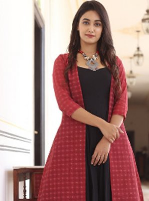 Muslin Party Wear Kurti in Black and Red