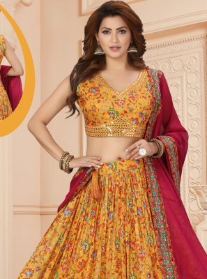 Muslin Readymade Lehenga Choli in Multi Colour