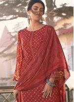 Muslin Red Trendy Salwar Kameez