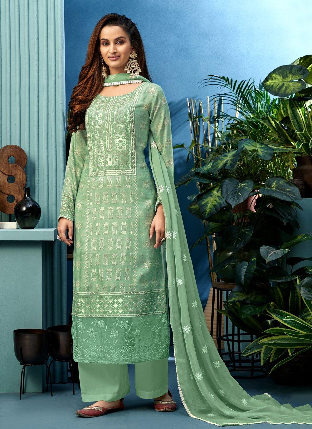 Muslin Sea Green Designer Palazzo Suit