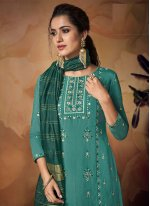 Muslin Sea Green Embroidered Designer Palazzo Suit