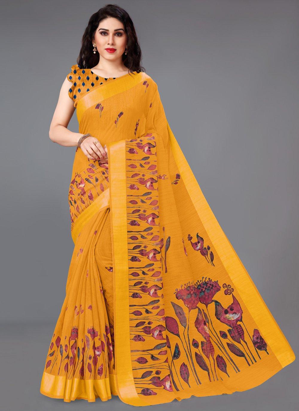 Mustard Abstract Print Cotton Printed Saree