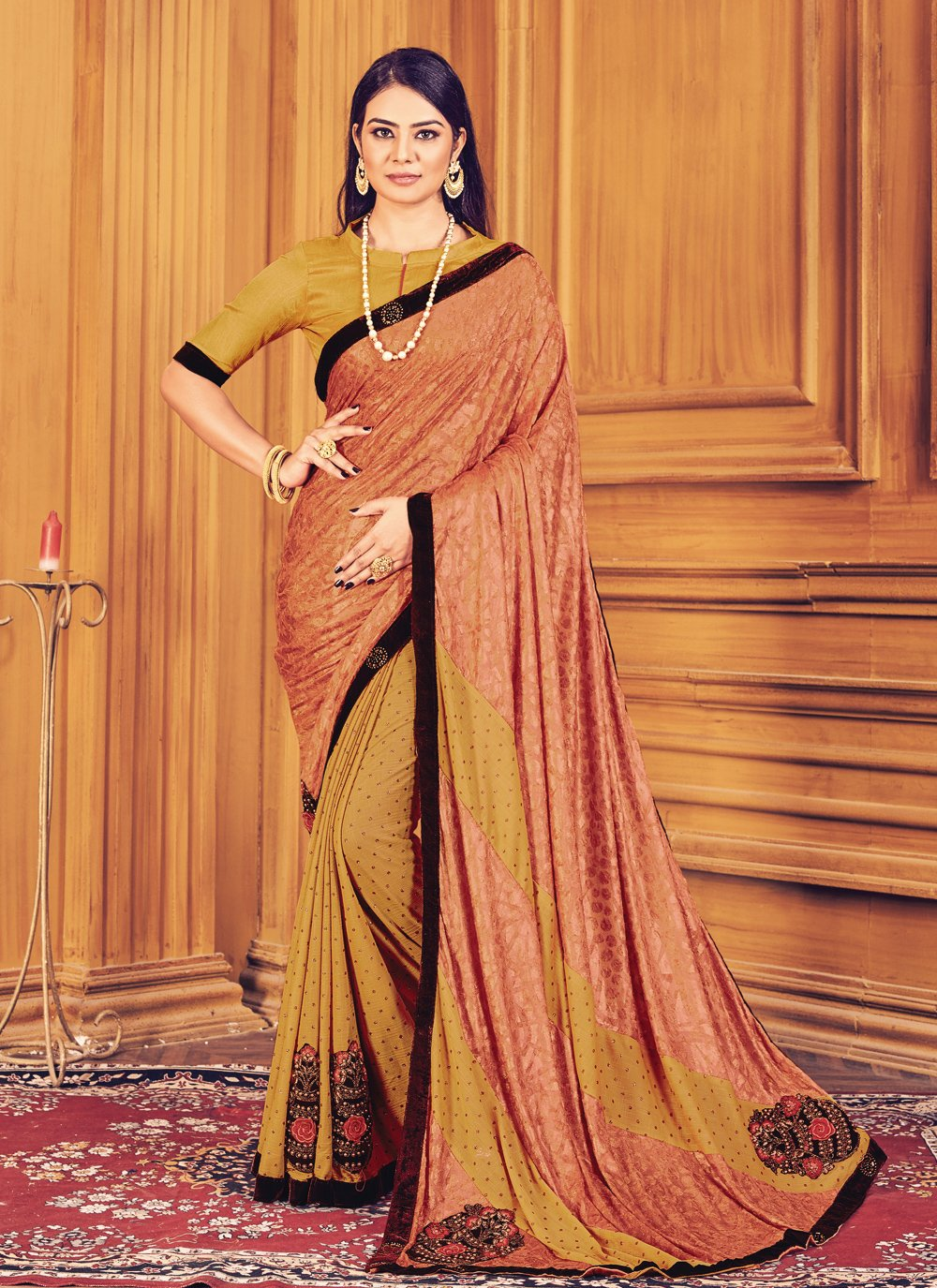 Mustard and Peach Fancy Fabric Classic Saree
