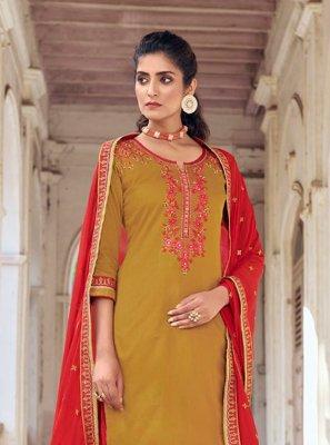 Mustard and Red Embroidered Silk Designer Patiala Salwar Kameez