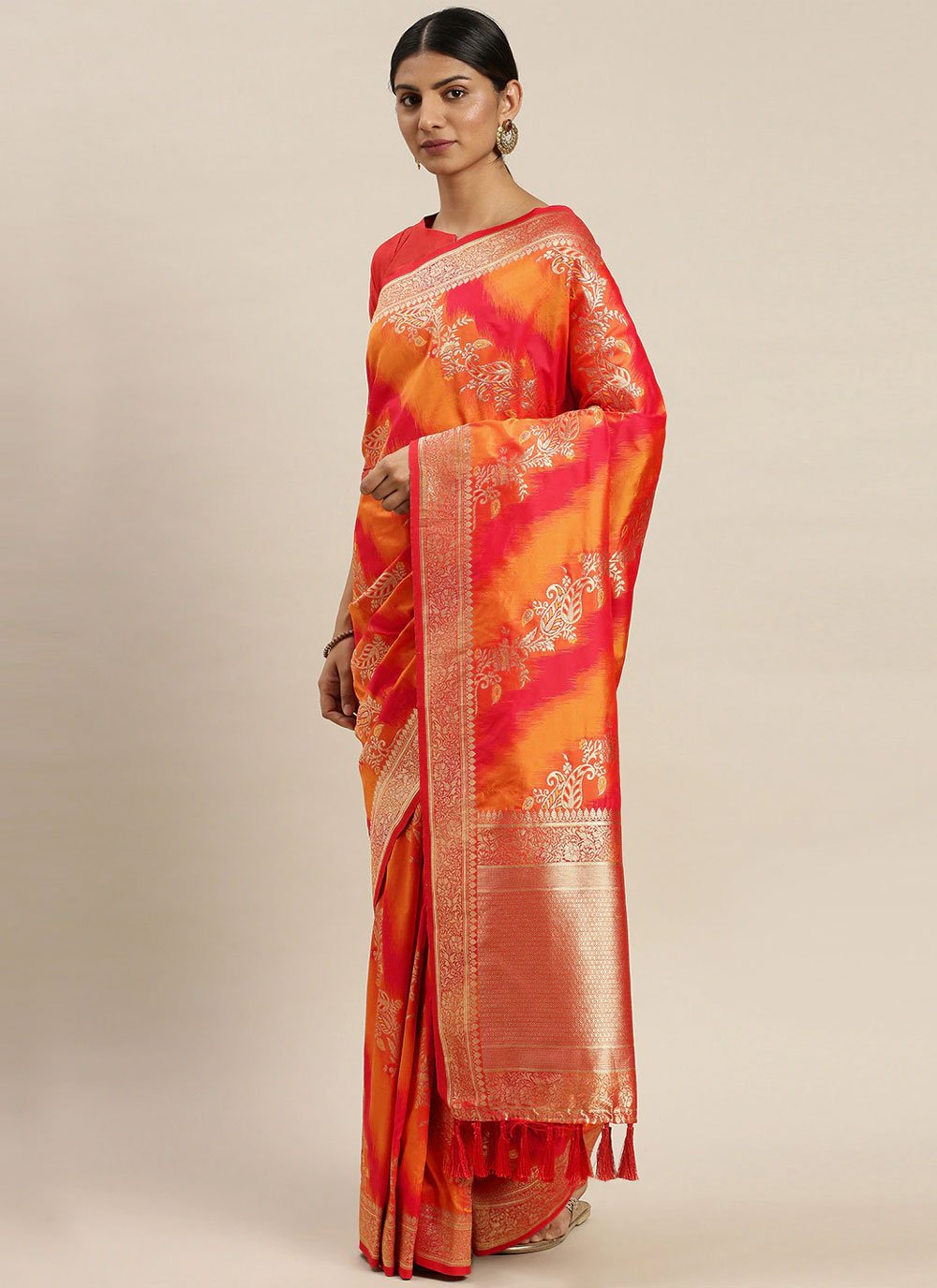 Mustard and Red Poly Silk Weaving Designer Traditional Saree