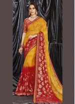 Mustard and Red Print Shaded Saree