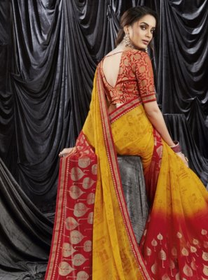 Mustard and Red Print Shaded Saree