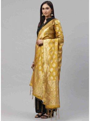 Mustard Art Silk Designer Dupatta