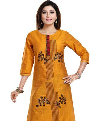 Mustard Art Silk Party Wear Kurti