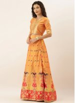 Mustard Art Silk Sangeet Lehenga Choli