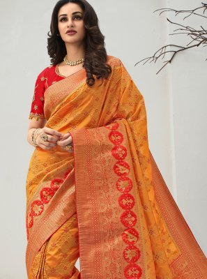 Mustard Banarasi Silk Traditional Designer Saree