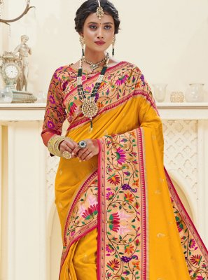 Mustard Banarasi Silk Weaving Designer Traditional Saree