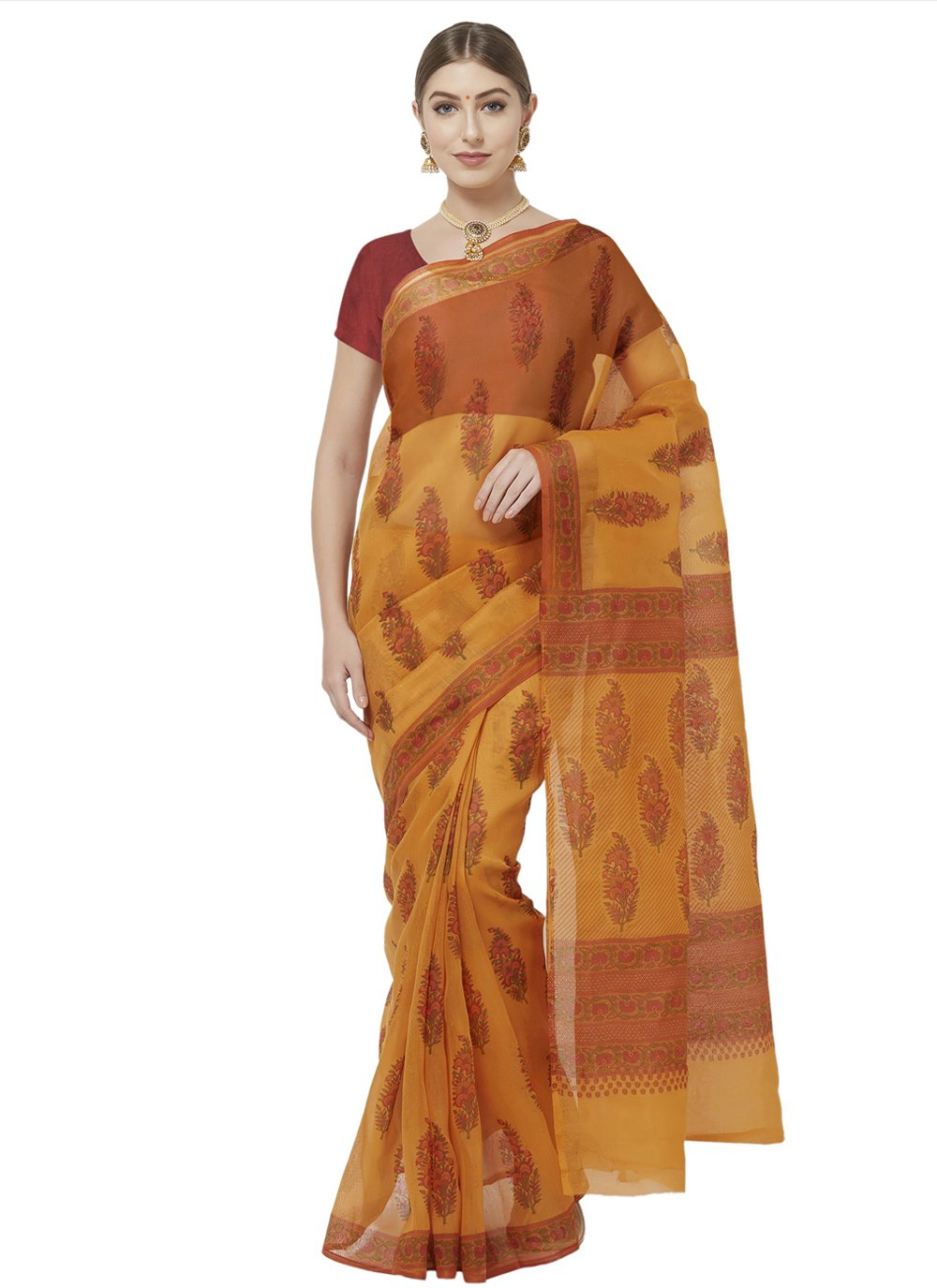 Mustard Blended Cotton Casual Printed Saree
