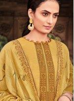 Mustard Ceremonial Cotton Silk Designer Palazzo Salwar Kameez
