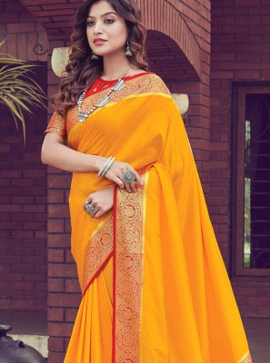 Mustard Ceremonial Traditional Saree