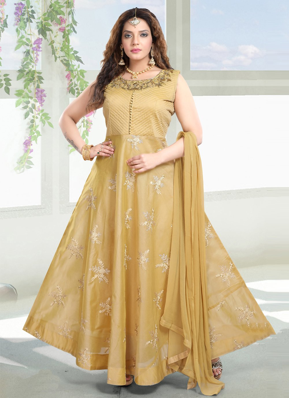 Mustard Chanderi Handwork Readymade Gown