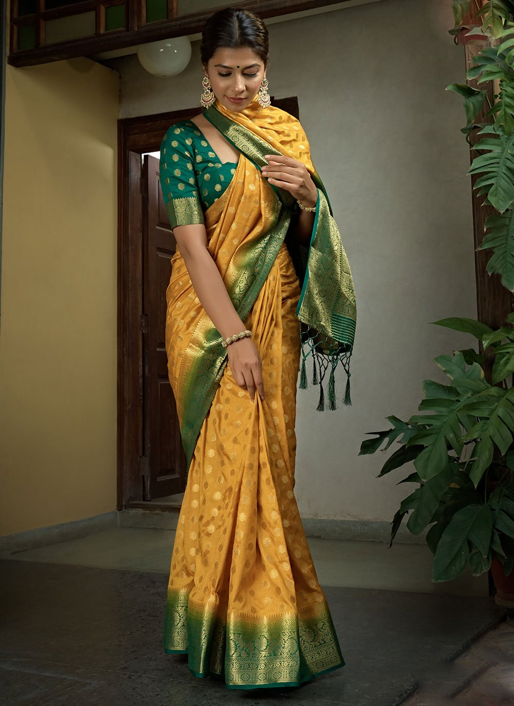 Mustard Color Designer Saree