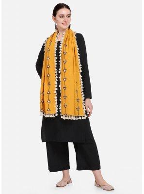 Mustard Cotton Embroidered Designer Dupatta