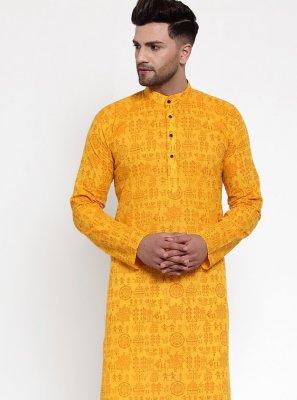Mustard Cotton Kurta Pyjama
