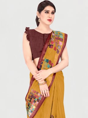 Mustard Cotton Printed Saree