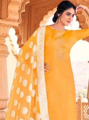 Mustard Cotton Swarovski Designer Palazzo Salwar Kameez