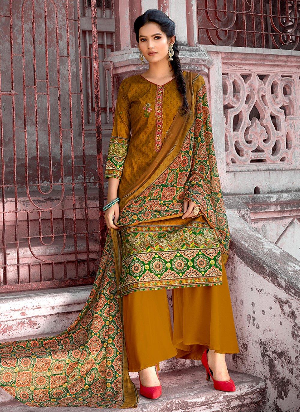 Mustard Designer Pakistani Suit