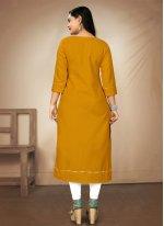 Mustard Digital Print Party Wear Kurti
