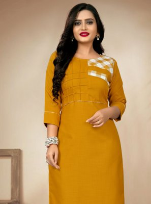 Mustard Digital Print Party Wear Kurti