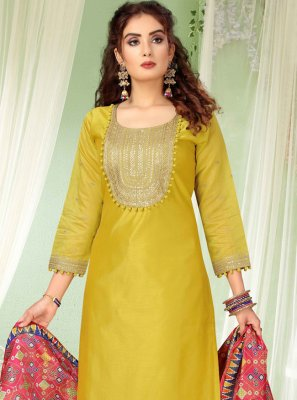 Mustard Embroidered Chanderi Pant Style Suit