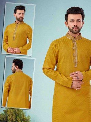 Mustard Embroidered Cotton Silk Kurta Pyjama