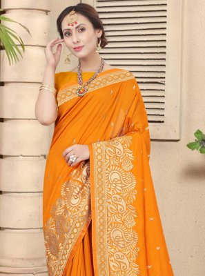 Mustard Embroidered Designer Traditional Saree