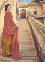Mustard Embroidered Faux Chiffon Designer Pakistani Salwar Suit