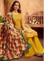 Mustard Embroidered Faux Chiffon Designer Salwar Kameez