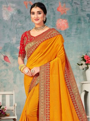 Mustard Embroidered Festival Traditional Designer Saree