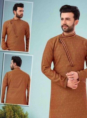Mustard Embroidered Mehndi Kurta Pyjama