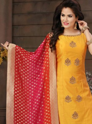 Mustard Fancy Art Silk Readymade Suit
