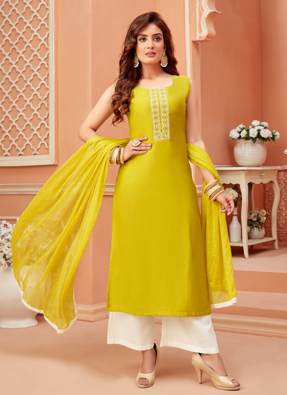 Mustard Fancy Engagement Designer Palazzo Suit