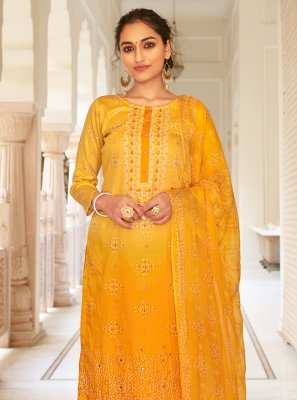 Mustard Fancy Fabric Printed Designer Palazzo Suit
