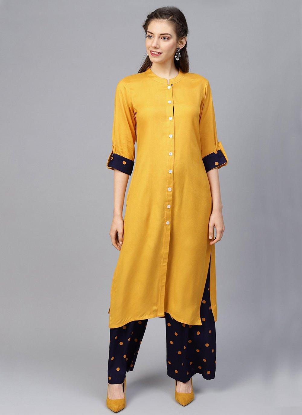 Mustard Fancy Rayon Designer Kurti