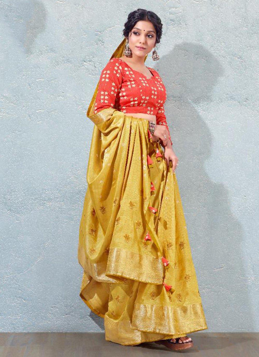 Mustard Fancy Silk Traditional Designer Saree