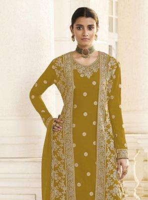 Mustard Faux Georgette Embroidered Designer Pakistani Suit