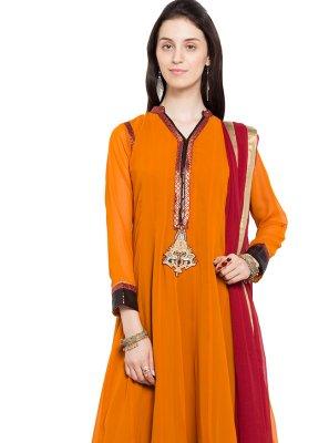 Mustard Faux Georgette Readymade Anarkali Salwar Suit