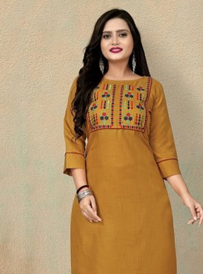 Mustard Festival Cotton Party Wear Kurti