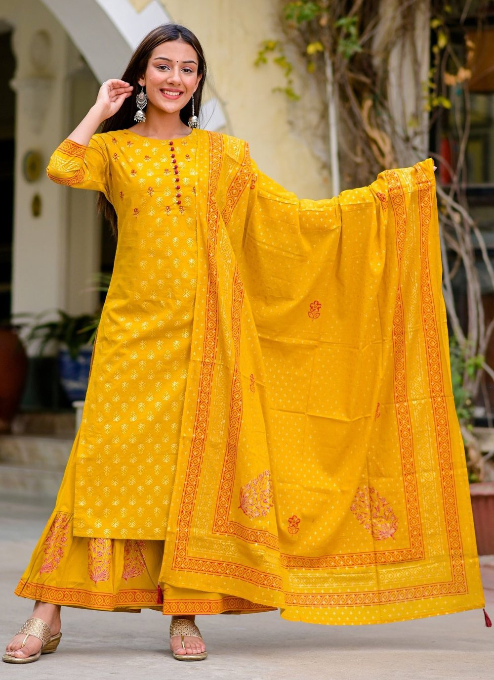 Mustard Festival Cotton Readymade Suit