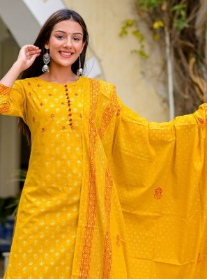 Mustard Festival Cotton Readymade Suit