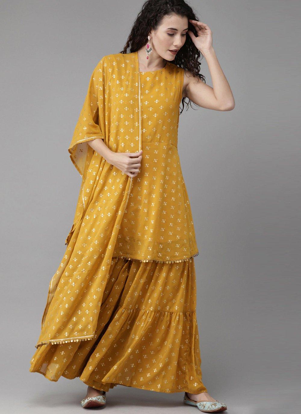 Mustard Festival Designer Palazzo Suit